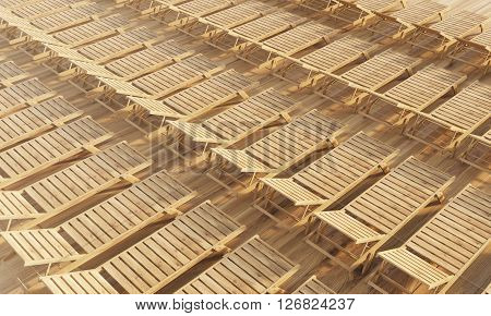 Rows of wooden chaise longues. Topview 3D Rendering