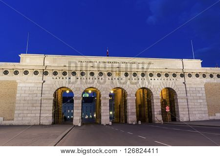 Exterior castle gate between the Heroes Square and the Ringstrasse in Vienna in Austria