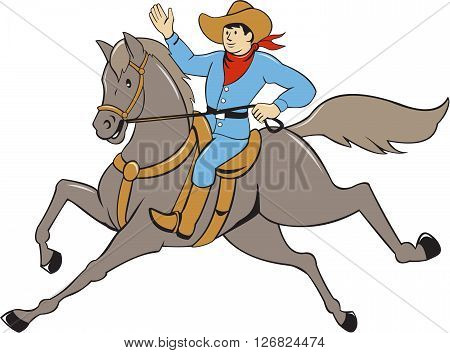 Illustration of a cowboy with arm raised riding horse viewed from the side set on isolated white background done in cartoon style.