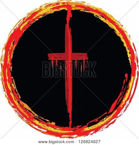 Cross in a circle of fire, symbolizing Jesus suffering and crucifixion.