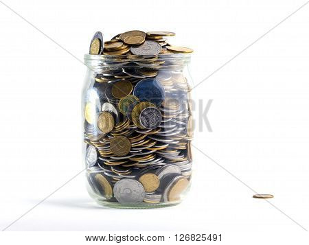 Jar of Money Isolated on a White Background.