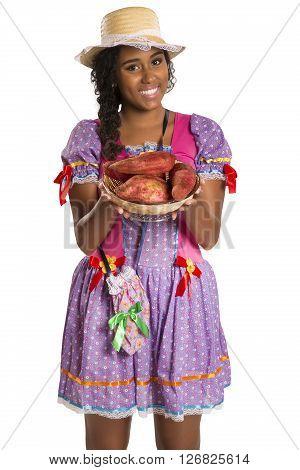 Girl Wearing Generic Caipira Clothes As In Every Festa Junina. - Brazil