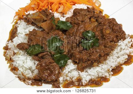 Jasmine Rice With Mutton Curry And Carrot Salad