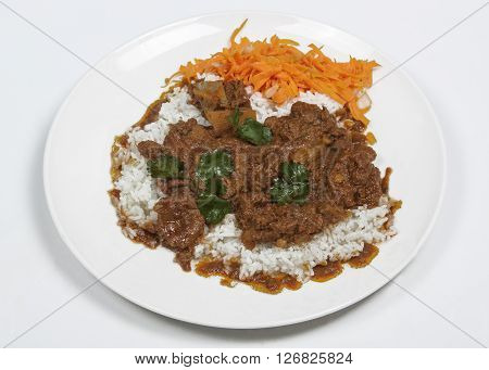 Mutton Curry And Rice With Carrot Sambal
