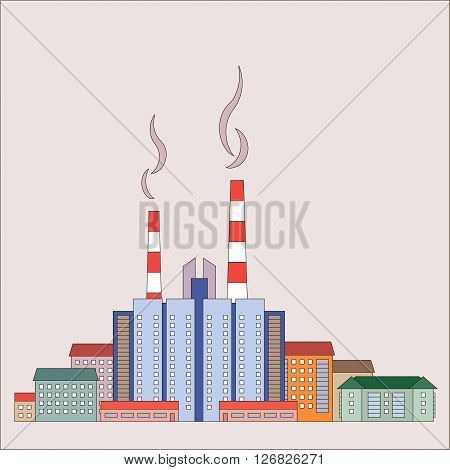 Urban residential area consisting of large and small homes and shops. In the background smokestacks with smoke. The concept of infrastructure. Vector illustration.