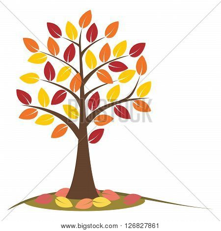 Autumn tree with falling leaves. Concept autumn tree. Stylized autumn tree with yellow orange and red leaves. Isolated on white background. EPS8 vector illustration.