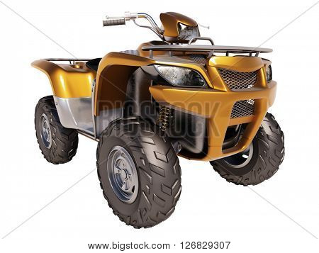 3d rendering. ATV quad bike isolated on white background