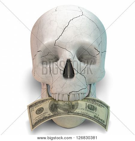 Human skull smiling with dollar in it mouth