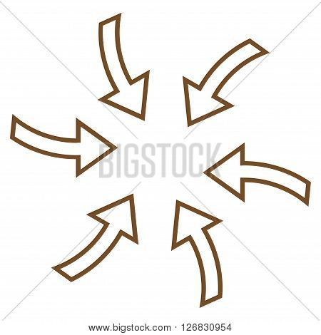 Cyclone Arrows vector icon. Style is stroke icon symbol, brown color, white background.