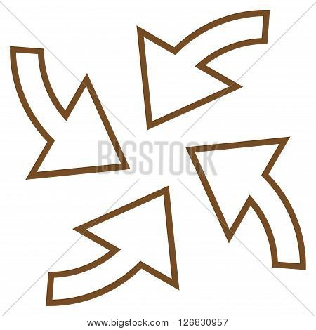Cyclone Arrows vector icon. Style is outline icon symbol, brown color, white background.