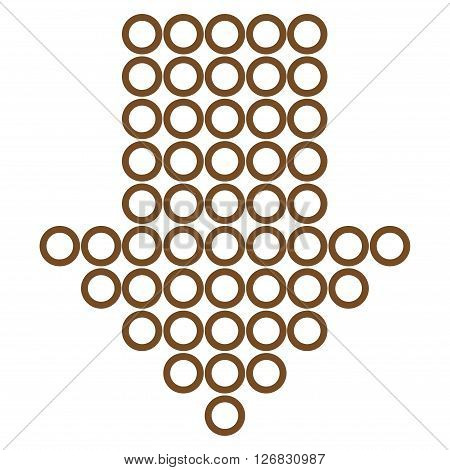 Dotted Arrow Down vector icon. Style is thin line icon symbol, brown color, white background.