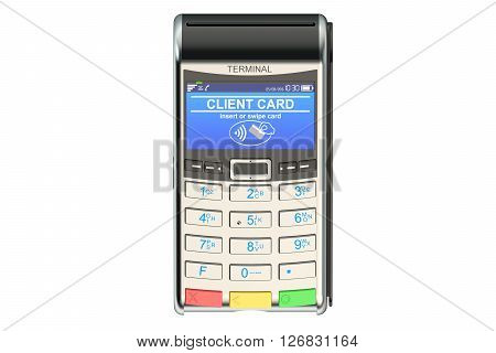 POS-terminal 3D rendering isolated on white background