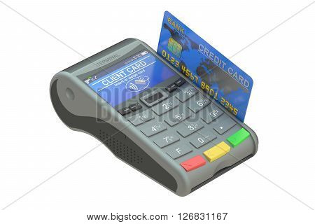 POS-terminal with credit card 3D rendering isolated on white background