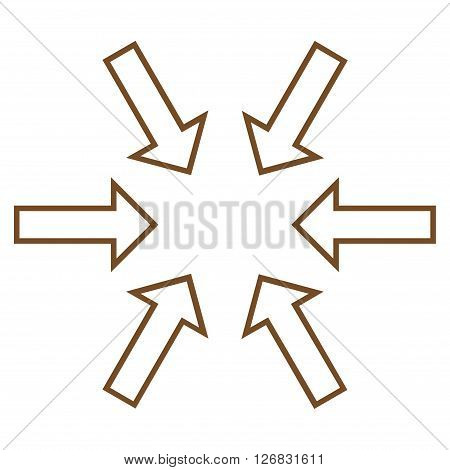 Pressure Arrows vector icon. Style is outline icon symbol, brown color, white background.