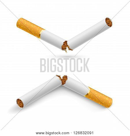 Two white broken cigarette on a white background