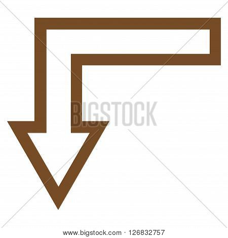 Turn Down vector icon. Style is thin line icon symbol, brown color, white background.
