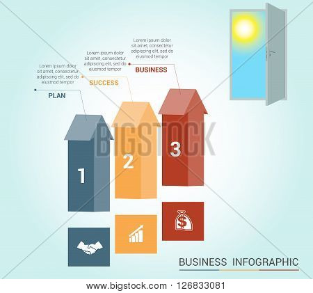 Template Conceptual infographics arrows colored and doorway 3 positions