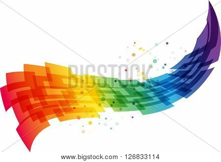 Abstract motion background, geometric colorful wave, vector illustration