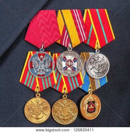 SAMARA RUSSIA - APRIL 20 2016: Awards and different medals on the russian navy uniform