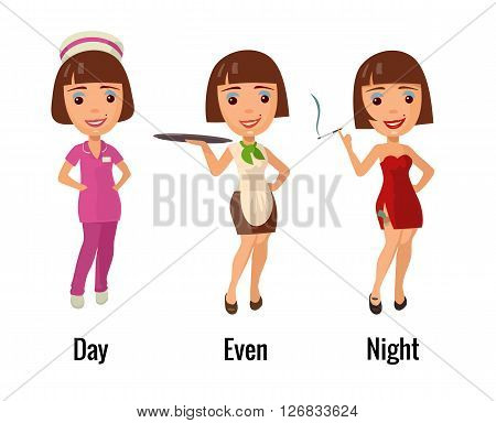 Woman professions - doctor waitress and dancer. Flat vector illustration. For icon web.