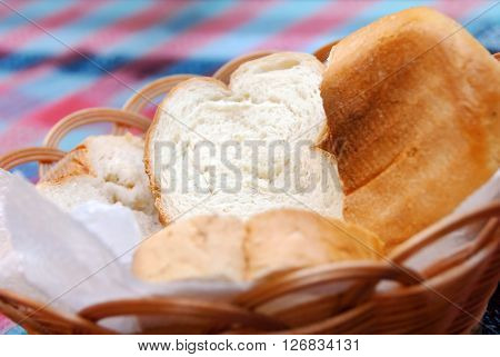 white fresh bread slices in punnet closeup