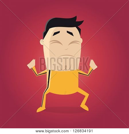 asian fighter with yellow track suit cartoon clipart