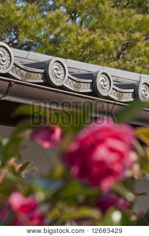 Roses And Japanese Temple Roof