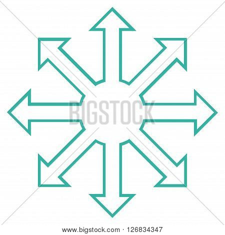 Enlarge Arrows vector icon. Style is contour icon symbol, cyan color, white background.
