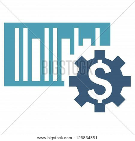 Barcode Price Setup vector icon. Style is bicolor flat symbol, cyan and blue colors, white background.