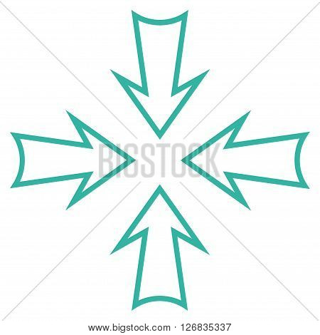 Minimize Arrows vector icon. Style is contour icon symbol, cyan color, white background.