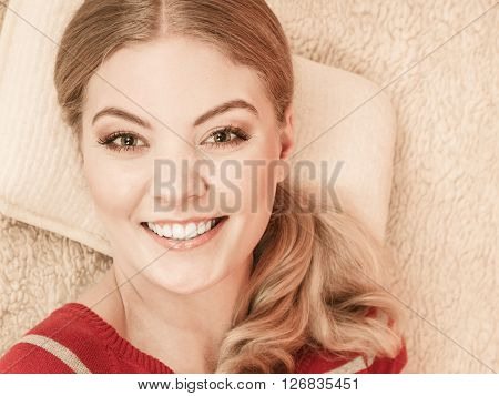 Happy Smiling Woman Girl Relaxing In Bed.
