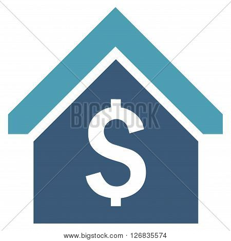 Loan Mortgage vector icon. Style is bicolor flat symbol, cyan and blue colors, white background.