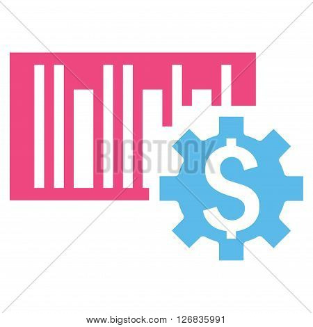 Barcode Price Setup vector icon. Style is bicolor flat symbol, pink and blue colors, white background.