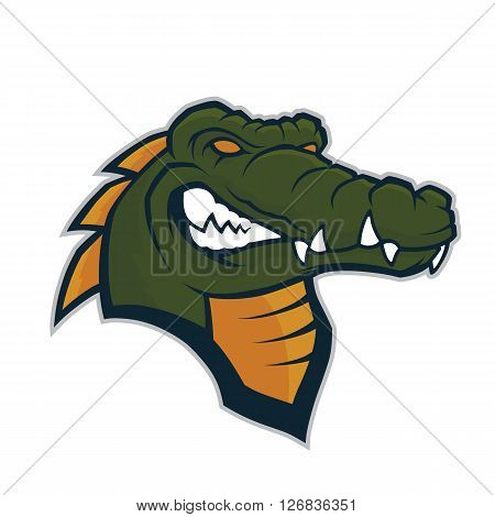 Clipart picture of a crocodile head cartoon mascot character