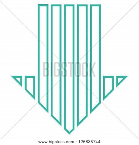 Stripe Arrow Down vector icon. Style is thin line icon symbol, cyan color, white background.