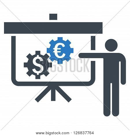 International Banking Project vector icon. Style is bicolor flat symbol, smooth blue colors, white background.