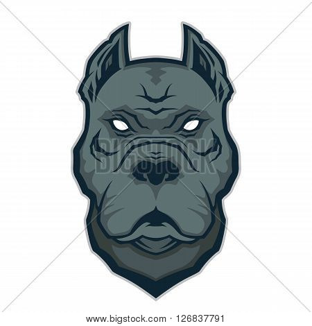 Clipart picture of a pitbull head cartoon mascot character