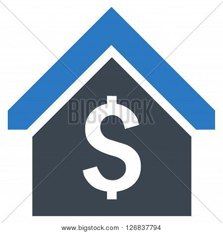 Loan Mortgage vector icon. Style is bicolor flat symbol, smooth blue colors, white background.