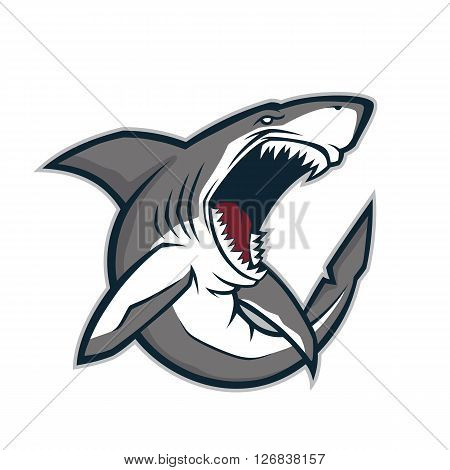 Clipart picture of an angry shark cartoon mascot character