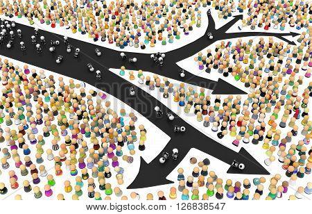 Crowd of small symbolic figures black skeleton arrow 3d illustration horizontal