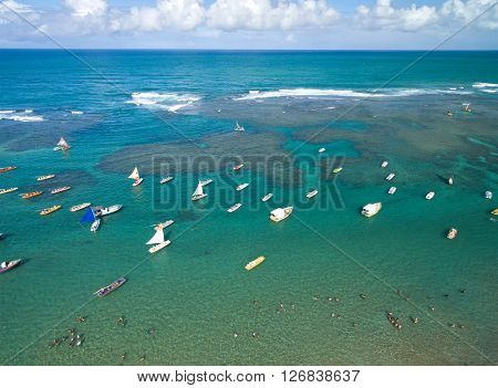 Aerial view of Porto de Galinhas beach located in Pernambuco State, Brazil