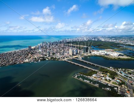 Aerial view of Recife, state of Pernambuco, Brazil