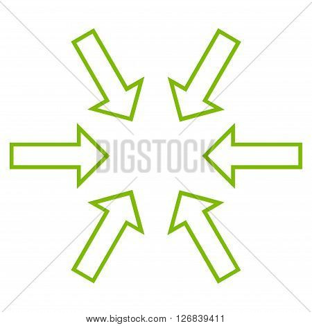 Pressure Arrows vector icon. Style is contour icon symbol, eco green color, white background.