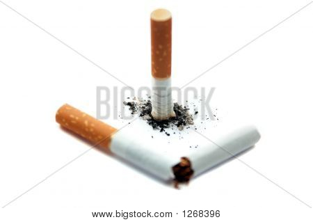 Broken Cigarette. Focus On Ash
