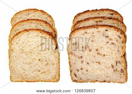 Multigrain light rye bread and cracked wheat bread