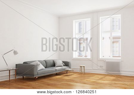 Sofa in minimalist living room in an old building in Germany (3D Rendering)