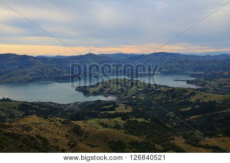 Banks Peninsula. Peninsula near Christchurch, New Zealand. Distant view of Akaroa.