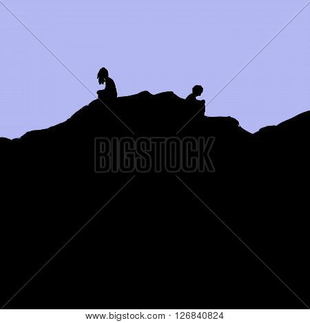 Silhouette Of Divorced Couple Sitting On Hill