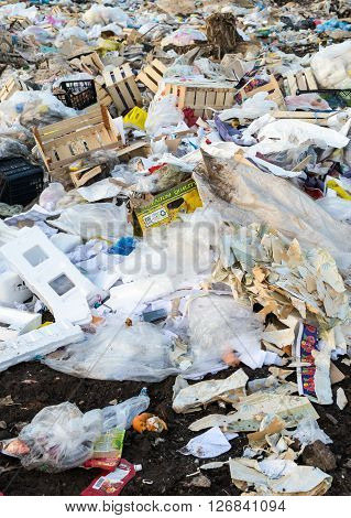 Piles Of Discarded Rubbish At A Landfill Site