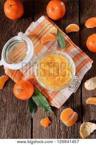 Tangerine Jam In Glass Jar